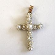 SALE 14K Victorian Seed Pearl and Horsehair Cross in Original Box