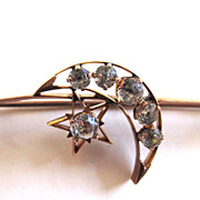 SALE 9K Rose Gold Victorian Paste Moon and Stars Brooch/Pin