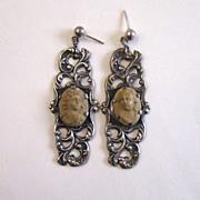 SALE Sterling Silver Lava Cameo Earrings