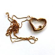 SALE 10K Yellow Gold Diamond Heart Pendant