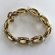 SALE Coro Gold-Tone and Aurora-Borealis Bracelet