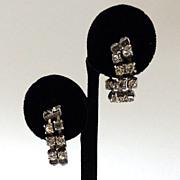 SALE Rhinestone Silver-Tone Hoop Earrings