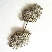 SALE Silver-tone Rhinestone Basket of Flowers Hat Pin