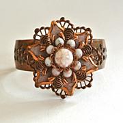 SALE Brass and Glass Floral Cuff Bracelet