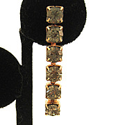 SALE Silver-Tone Smoke-Colored Rhinestone Line Earrings