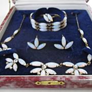 SALE Faux Moonstone Full Parure: Necklace/Bracelet/Earrings/Ring in Original Box