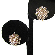 SALE 14K Victorian Seed Pearl Floral Earrings