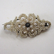 SALE Victorian Seed Pearl and Diamond Brooch/Pin