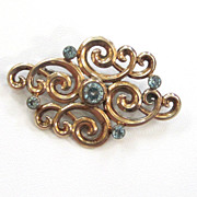 SALE Symmetalic Sterling Silver Gold-Filled Blue Topaz Brooch/Pin