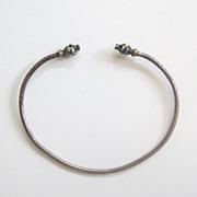 SALE Sterling Silver Snake/Dragon Head Bracelet/Bangle