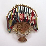 """SALE Coro """"Emblem of the Americas"""" Patriotic UN Brooch/Pin"""