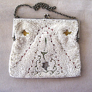 SALE 1920s European Embroidered Beaded Tambor Purse/Handbag