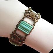 SALE Art Deco Brass Peking Glass and Faux Seed Pearl Bracelet