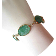 SALE Gold-Tone Molded Green Plastic Bracelet