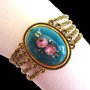 SALE Goldette Reverse-Painted Cabbage Rose Bracelet