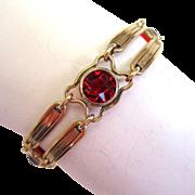 SALE 1/20 12K Gold Red Glass Double Bar Bracelet