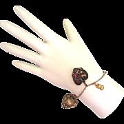 SALE Silver-tone and Gold-Tone Locket Charm Bracelet