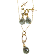 SALE 14K Yellow Gold Green Amethyst Necklace/Earrings Set