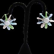 SALE Plastic Pastel Flower Earrings