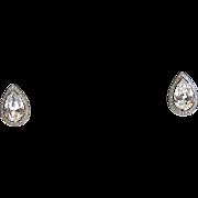 SALE Circa 1950s Crown Trifari Pear-Shaped Rhinestone Earrings