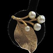 SALE Crown Trifari Gold-Tone Faux Pearl Leaf Earrings