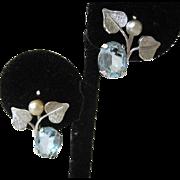 SALE Van Dell Sterling Silver Blue Glass Earrings