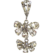 SALE Silver-tone Rhinestone Half-floral Drop Earrings