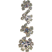 SALE Silver-Tone Four Flower Rhinestone Pierced Earrings