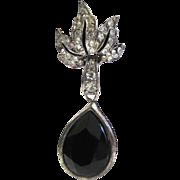 SALE Carolee Black Glass Rhinestone Drop Pierced Earrings