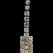 SALE Rectangular Silver-Tone Rhinestone Drop Pierced Earrings