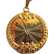 SALE Turn Of The Century FMCO Diamond Gold-Filled Locket