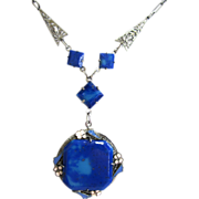 SALE Art Deco Blue Glass Enamel Filigree Pendant/Necklace