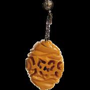 SALE Art Deco Carved Butterscotch Bakelite Earrings