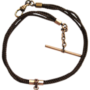 SALE Victorian Gold-Filled Hair-work Watch Chain