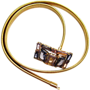 SALE Slinky Gold-tone Glass Buckle Belt