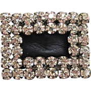 SALE Rhinestone and Black Leather Shoe Buckles