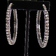 SALE Large Silver-tone Rhinestone Hoop Earrings