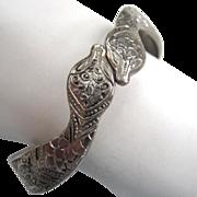 SALE Silver-Plated Engraved Snake Bracelet
