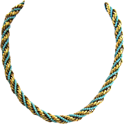 SALE Twisted Gold-Tone Metal and Blue Bead Choker