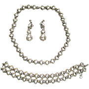SALE Ora Rhinestone Parure: Necklace/Bracelet/Earrings