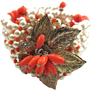 SALE Wired Faux Pearl and Faux Coral Golden Leaves Bracelet