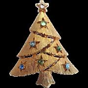 SALE Gold-Tone Christmas Tree Brooch/Pin