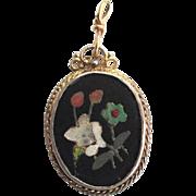 SALE Pietra Dura Gold-tone and Silver-Tone Pendant