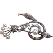 SALE Sterling Silver Cultured Pearl Abstract Floral Brooch/Pin