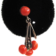 SALE 800 Silver Victorian Coral Earrings