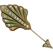SALE Pale Green Celluloid Rhinestone Hat Pin/Stick pin