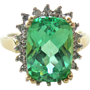 SALE 10K Yellow Gold Diamond and Green Garnet Ring