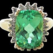 SALE 10K Yellow Gold Diamond and Green Garnet Ring