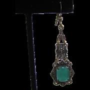 SALE Art Deco Marcasite Green Chrysoprase Pierced Earrings