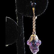 SALE Bohemian Brass Purple Glass 'Grapes' Earrings